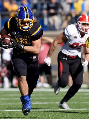 SDSU's Christian Rozeboom carries the ball against Youngstown at Dana J. Dykhouse Stadium on Saturday