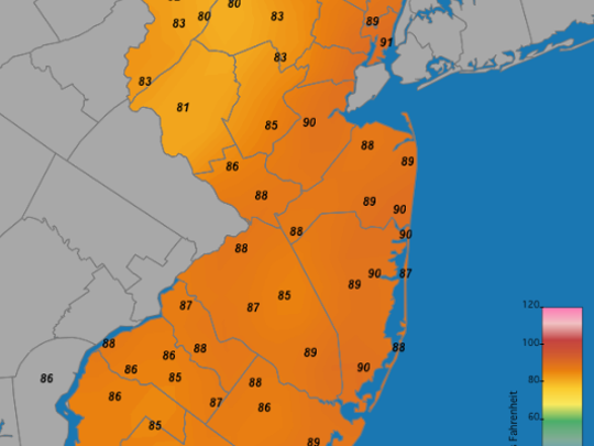 A look at the high temperatures today.