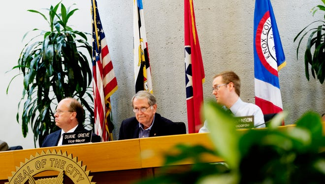 From left, city council members Rob Frost, Vice-Mayor Duane Grieve and Will Johnson during a special meeting to decide the tie for second place among the primary candidates for the 4th District for city council at the City County Building in Knoxville, Tennessee on Wednesday, September 6, 2017. In the end, candidate Harry Tindell won the vote.