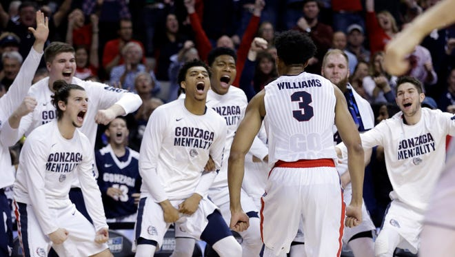 Gonzaga forward Johnathan Williams (3) celebrates with teammates after dunking against Xavier during the second half of an NCAA Tournament college basketball regional final game Saturday, March 25, 2017, in San Jose, Calif.