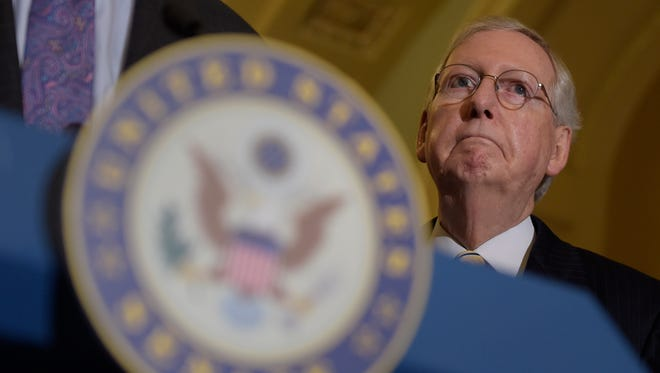 Senate Majority Leader Mitch McConnell of Ky., listens during a news conference following a Republican policy luncheon on Capitol Hill in Washington, Tuesday, Sept. 12, 2017.