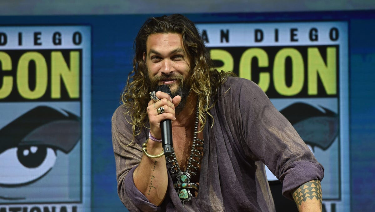 "Jason Momoa discusses DC's ""Aquaman"" at Comic-Con."
