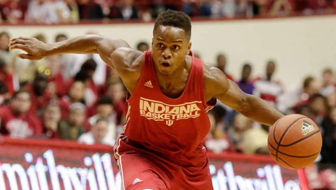 Indiana guard Yogi Ferrell drives the ball during a Hoosier Hysteria scrimmage on Saturday, Oct. 25, 2014, at Assembly Hall in Bloomington.