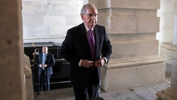 Senate Majority Leader Mitch McConnell arrives to the
