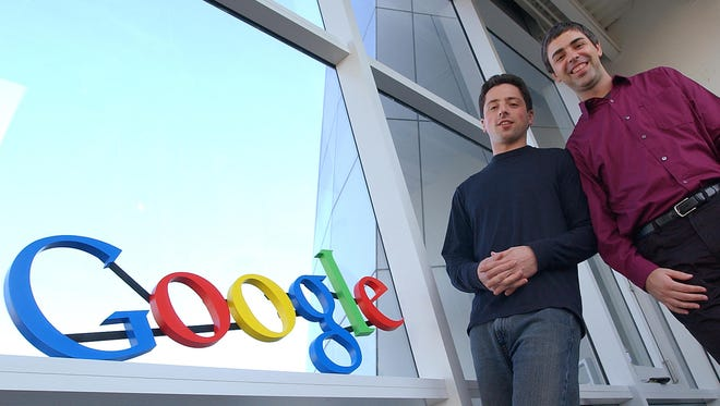 Google co-founders Sergey Brin, left, and Larry Page in 2004 at company headquarters in Mountain View, Calif.