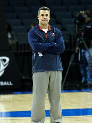 Virginia coach Tony Bennett during practice at Time Warner Cable Arena.