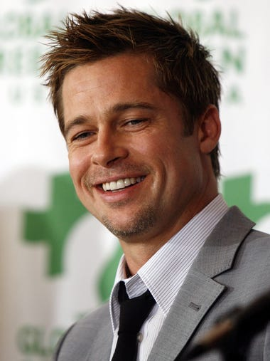 Actor Brad Pitt smiles during a news conferencein New