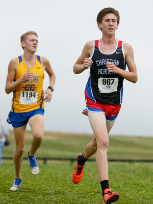 Christian Academy of Louisville Steven Ott leads during the KHSAA Class 2A cross country state championship at Kentucky Horse Park on Saturday, Nov. 4, 2017 in Lexington, Ky.