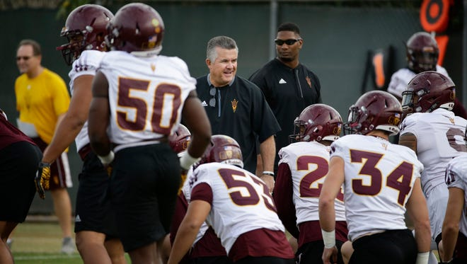 Arizona State head coach Todd Graham during football bowl practice on Dec. 1, 2017 in Tempe, Ariz.