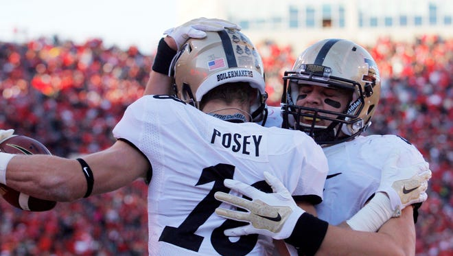 Purdue Boilermakers tight end Justin Sinz (84) celebrates after receiver Cameron Posey (18) scored a touchdown against Nebraska on Saturday.