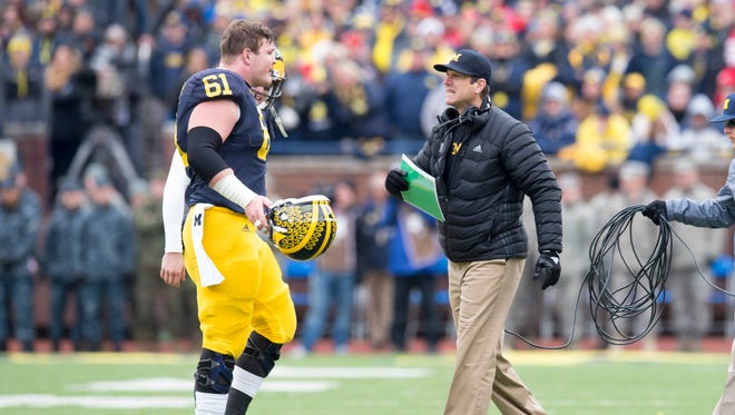 Graham Glasgow and Jim Harbaugh