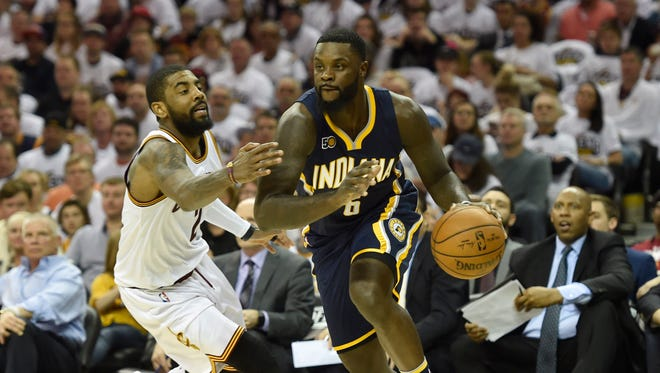 Indiana Pacers guard Lance Stephenson (6) drives against Cleveland Cavaliers guard Kyrie Irving (2) in the second quarter in game one of the first round of the 2017 NBA Playoffs at Quicken Loans Arena.