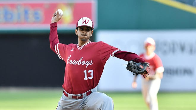Western pitcher Miguel Ambriz works in the first inning against King at Comerica Park. Western won, 5-4, in eight innings.