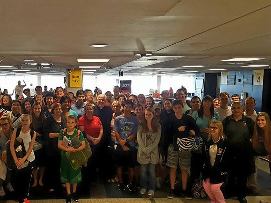 Diocesan World Youth Day pilgrims at JFK airport in New York on their way to Poland on July 24.