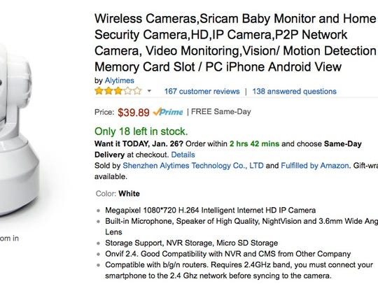 A wireless baby monitor sold on Amazon by Shenzhen