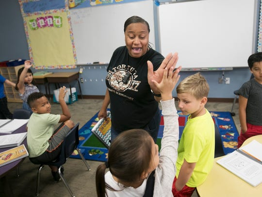 Na'shara Tyson, a first grade teacher at Tortuga Preserve