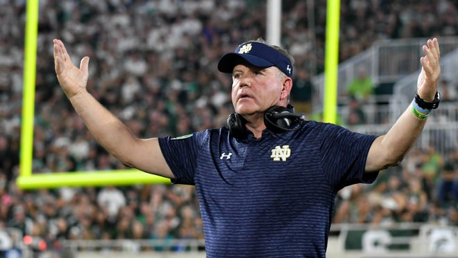 Sep 23, 2017; East Lansing, MI, USA; Notre Dame Fighting Irish head coach Brian Kelly reacts in the fourth quarter against the Michigan State Spartans at Spartan Stadium. Mandatory Credit: Matt Cashore-USA TODAY Sports
