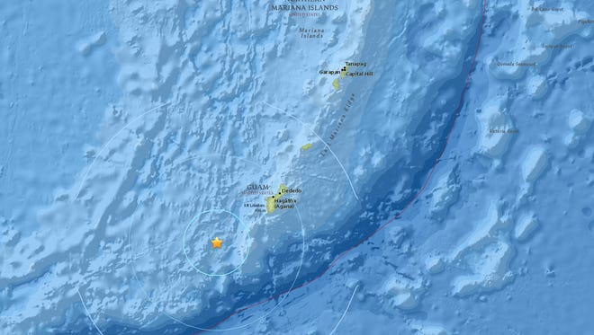 U.S. Geological Survey screenshot the 5.6-magnitude quake that shook Guam at 10:36 a.m., Oct. 20.