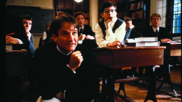 "Robin Williams in ""Dead Poets Society."""