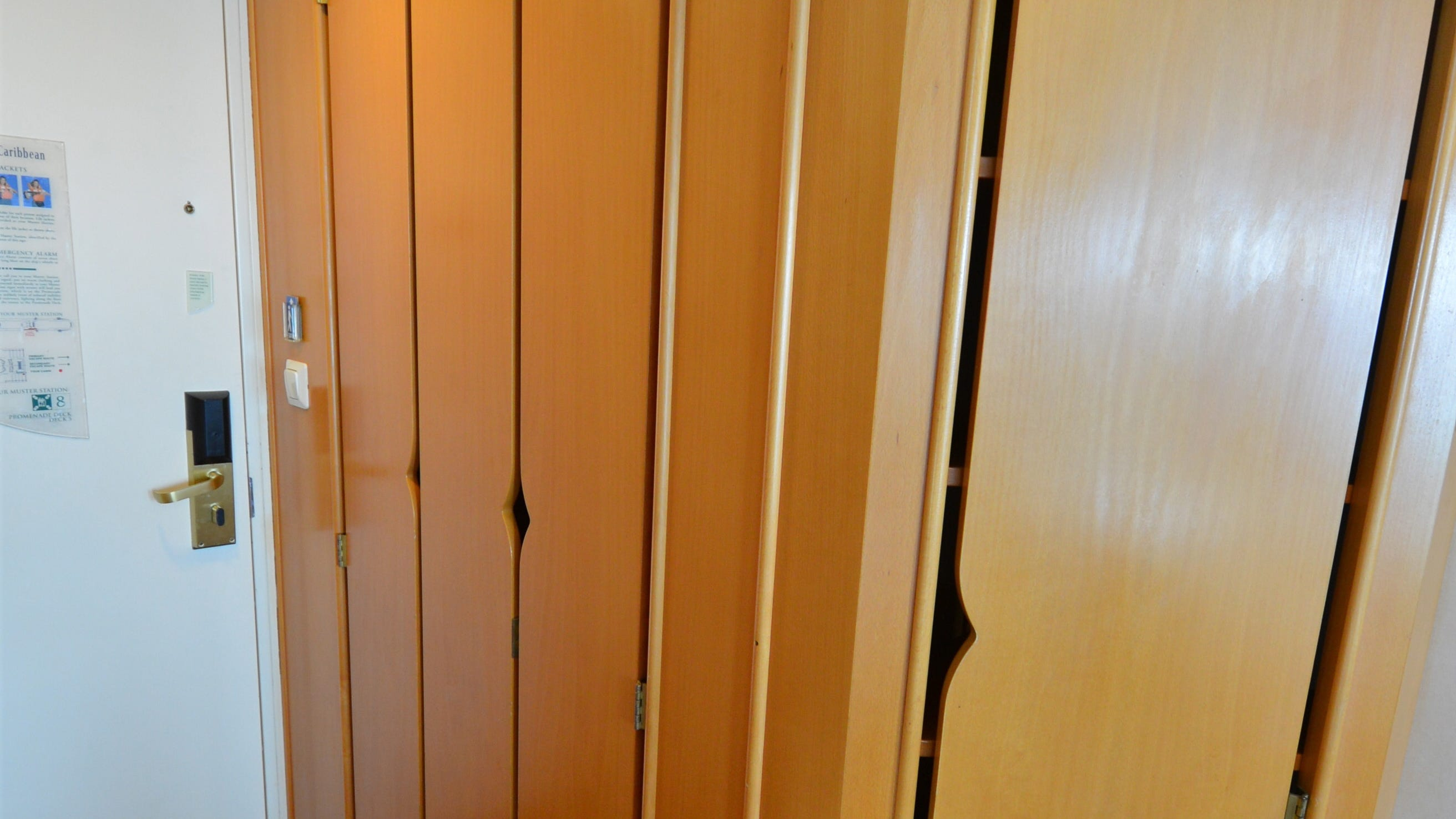 Ocean View cabins feature large, floor-to-ceiling closet areas.