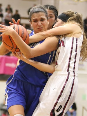 Blanchet's Ana Coronado tries to get up a shot against Dayton in the OSAA Class 3A state championship game on Saturday, March 4, 2017.