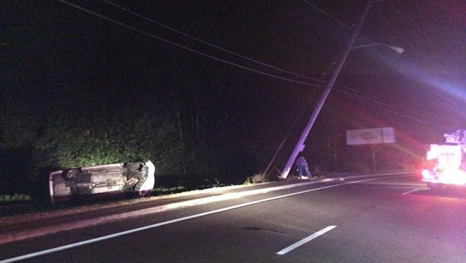The scene of a crash that left approximately 2,700 people without power for several hours on Sunday morning.