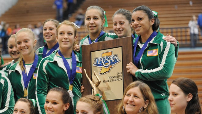 The 2010 Valparaiso gymnastics team poses after winning the state title. The school's 2008 team is considered Indiana's best ever.