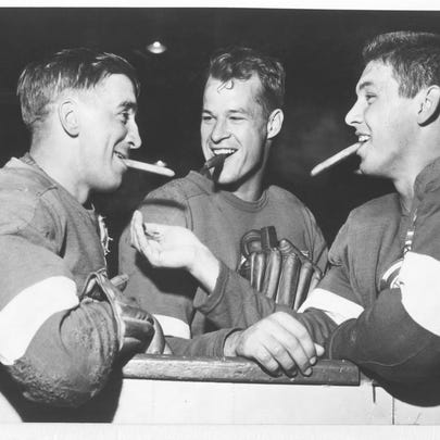 From left, Alex Delvecchio, Gordie Howe and Ted Lindsay