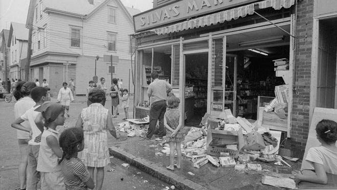 Aftermath of rioting in the South End of New Bedford. July 26, 1970.