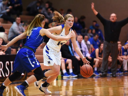 Bailee Smith sizes up the defense during Maysville's 62-51 loss to Cambridge on Saturday in a Division II district final at the Anne C. Steele Center. Smith was named third-team All-Ohio on Tuesday.