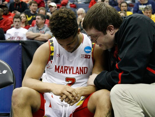 Maryland Terrapins guard Melo Trimble (2) on the bench