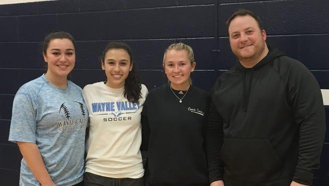 Wayne Valley team captains (from left) Gianna Joyner, Grace Olaya and Carla Goodwin with coach Chris Helm.