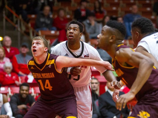 Jamal Aytes battles for a rebound in SUU's win over Central Michigan, Dec. 16, 2017.