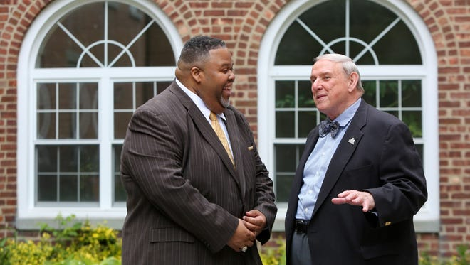 Retiring Rockland Community College president Cliff Wood, right, and incoming president Michael Batson outside the college's Bruckner Hall in Suffern May 24, 2017.