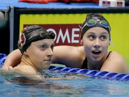 Stanford's Katie Ledecky,left, and Louisville's Mallory