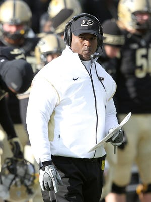 Nov 23, 2013; West Lafayette, IN, USA;  Purdue Boilermakers head coach Darrell Hazell on the sidelines during the fourth quarter  of the game against the Illinois Fighting Illini at Ross Ade Stadium. Illinois won 20-16. Mandatory Credit: Pat Lovell-USA TODAY Sports