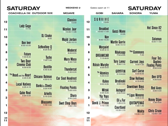 Coachella set times weekend 2.