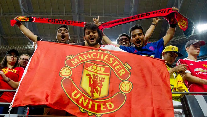 Fans cheer on the Manchester United on July 19, 2018, before Manchester United's matchup against Club America at the University of Phoenix Stadium in Glendale, Arizona.