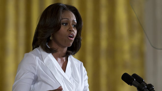 First lady Michelle Obama speaks at the White House in Washington.