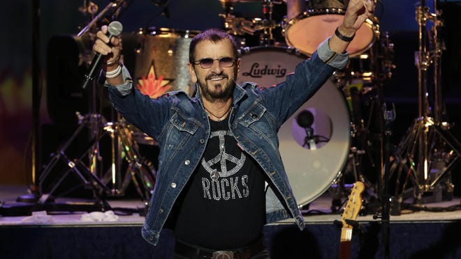 Ringo Starr plays as part of a concert celebrating the 50th anniversary of Woodstock in Bethel, N.Y., Friday, Aug. 16, 2019.  He turns 80 in July, 2020.