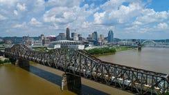 Drone footage over the Ohio River shows the Cincinnati,