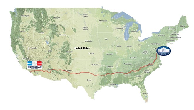 A dozen runners are following this route on a 3,080-mile trek from Huntington Beach, Calif. to Washington, D.C. The runners cover approximately 26.2 miles - a marathon - each day.