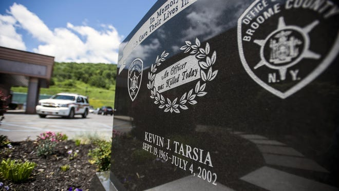 A memorial honoring Deputy Kevin J. Tarsia at the Broome County Sheriff's Office in the Town of Dickinson.