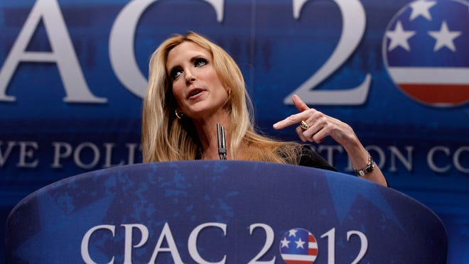 ORG XMIT: 138609084 WASHINGTON, DC - FEBRUARY 10:  Conservative author and pundit Ann Coulter delivers remarks to the Conservative Political Action Conference (CPAC) at the Marriott Wardman Park February 10, 2012 in Washington, DC. Thousands of conservative activists are attending the annual gathering in the nation's capital.  (Photo by Chip Somodevilla/Getty Images) ORIG FILE ID: 138674954
