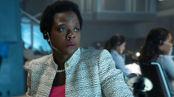 "Viola Davis provides steely backbone as the team's program leader in ""Suicide Squad."""