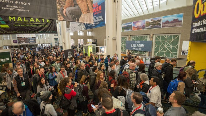 Crowds gather at the Outdoor Retailer Winter Market. The trade show was held in Salt Lake City in January. A dispute over preservation of a monument has led the outdoor industry to move the show out of Utah when its current contract ends. Patagonia had said it would boycott the event over the Bears Ears monument controversy.