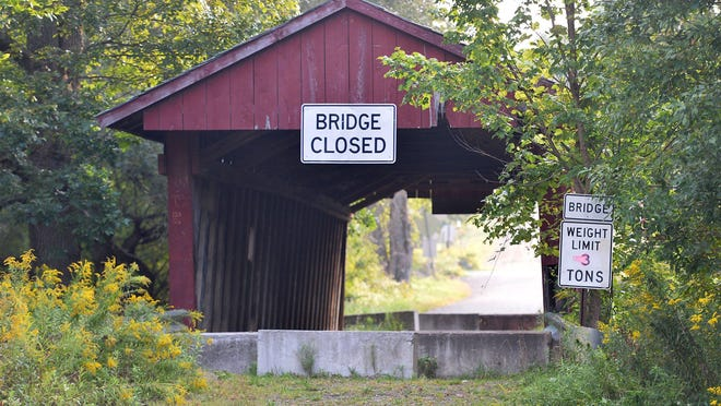 The Waterford covered bridge, shown in 2016, is also referred to as the Brotherton Bridge. It spans LeBoeuf Creek in LeBoeuf Township.