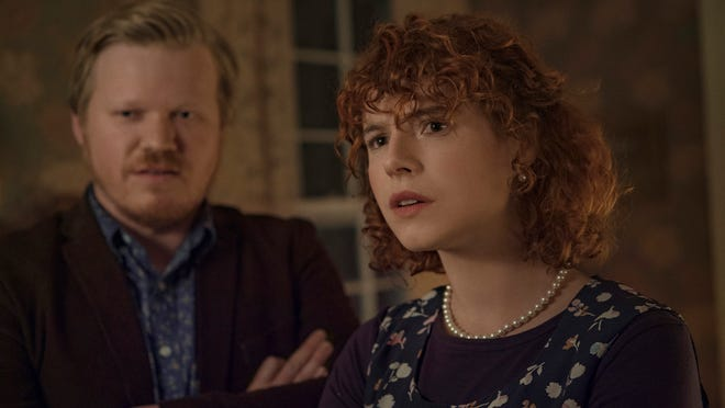 "This image released by Netflix shows Jesse Plemons, left, and Jessie Buckley in a scene from ""I'm Thinking of Ending Things."""