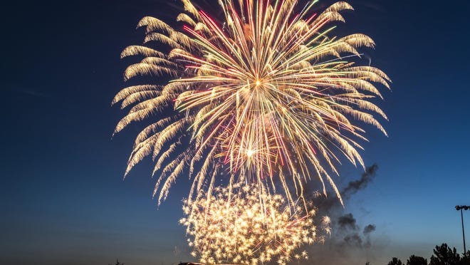 Fireworks light up the sky above the Kansas State Fairgrounds during Hutchinson's annual show.
