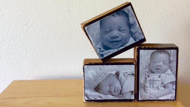 With a couple of wood scraps, some photos and glue, you can make Dad some lovely photo blocks to display in his home or office.
